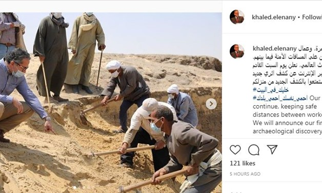 Pictures of excavation works in the presence of Egypt's Minister of Tourism & Antiquities Khaled el-Anani - Social media/Anani official Instagram