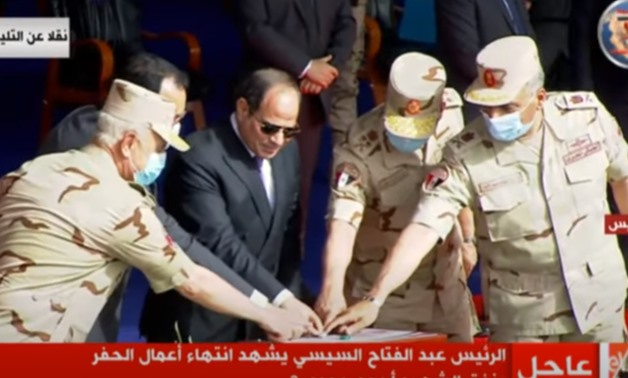 Egypt's President Abdel Fattah El-Sisi on Wednesday arrived in the seaport city of Suez to inaugurate a number of national projects, including a major tunnel that reaches Sinai - Screenshot/National TV