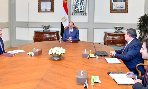 President Abdel Fattah el-Sisi holds a meeting with Prime Minister Mustafa Madbouli and Minister of State for Information Osama Heikal - The Egyptian Presidency