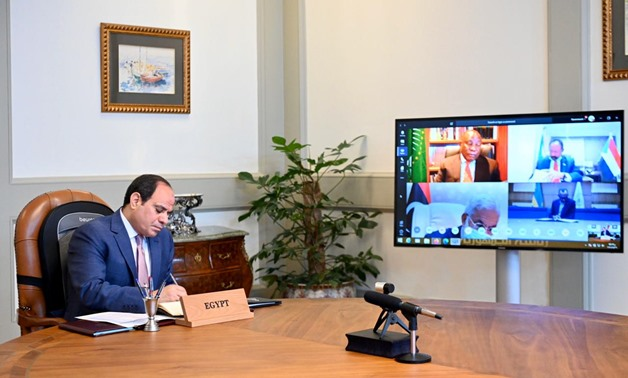 Egypt's President Abdel Fattah El-Sisi addresses a number of African heads of state via video conferencing – Press photo