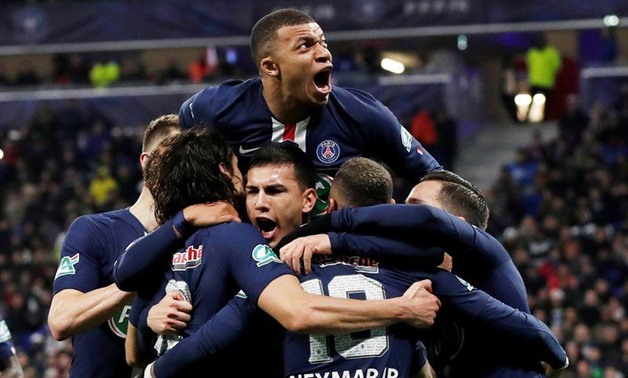 Paris St Germain's Kylian Mbappe and team mates celebrate their second goal, scored by Neymar from the penalty spot REUTERS/Benoit Tessier/File Photo
