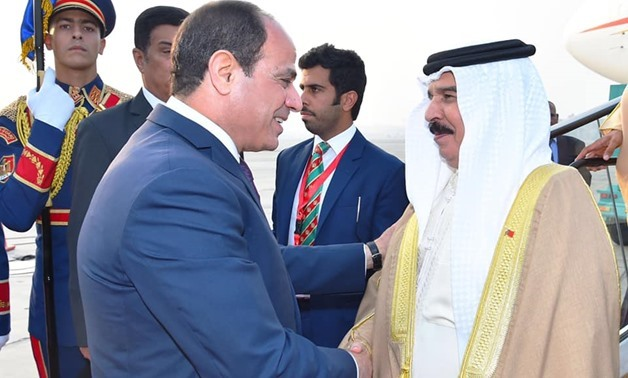 Bahrain's King Hamad bin Isa Al Khalifa hailed his country's strong relations with Egypt and the developmental progress Egypt is witnessing, in a meeting with President Abdel Fattah el-Sisi on Thursday in Cairo - Courtesy of the Egyptian Presidency