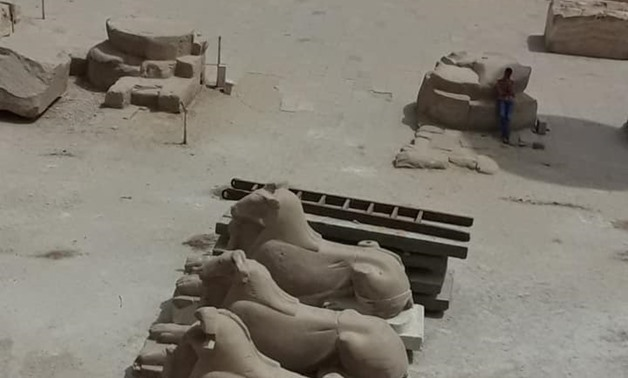 File - A group of ram-headed sphinxes at Amun-Ra Temple at Karnak Temple Complex in Luxor.