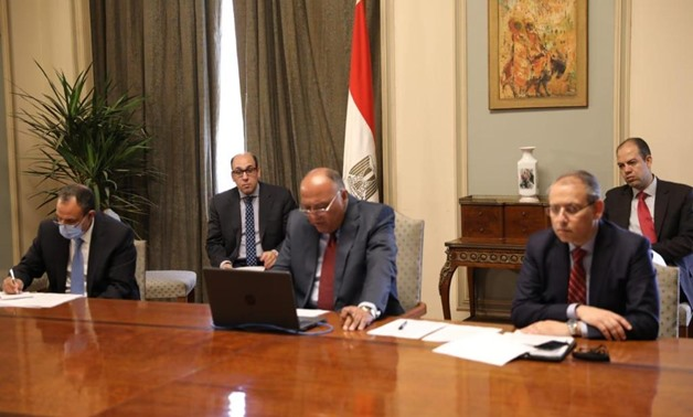 Egypt's minster of Foreign Affairs Sameh Shoukry during a teleconference meeting with his Greek, Cypriot, French and Emirati counterparts, 11 May 2020 - Press photo