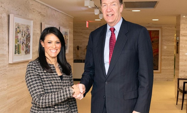 FILE - Minister of International Cooperation Rania al-Mashat and President of the World Bank Group David Malpass in a meeting held in Washington in February 2020 - Press Photo