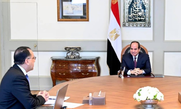 President Abdel Fattah El Sisi meets with Prime Minister Mustafa Madbouli to review the state's efforts to fight coronavirus during Eid Al-Fitr – Courtesy of the Presidency