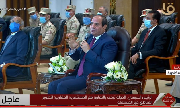 President Abdel Fattah El-Sisi attends the inauguration ceremony of a housing project in northern Egypt's Alexandria – Screenshot/Al Oula TV