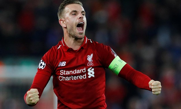 Soccer Football - Champions League Semi Final Second Leg - Liverpool v FC Barcelona - Anfield, Liverpool, Britain - May 7, 2019 Liverpool's Jordan Henderson celebrates after the match REUTERS/Phil Noble