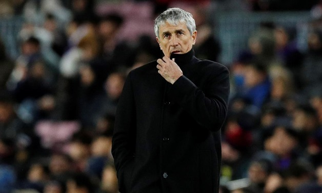 FILE PHOTO: Soccer Football - La Liga Santander - FC Barcelona v Granada - Camp Nou, Barcelona, Spain - January 19, 2020 Barcelona coach Quique Setien REUTERS/Albert Gea