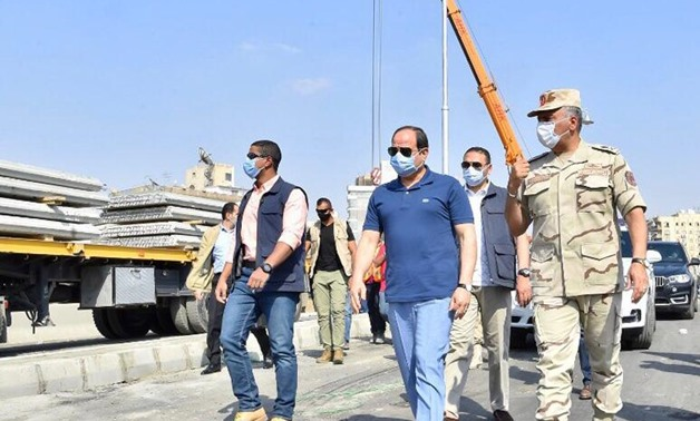 Egypt's President Abdel Fattah El Sisi on Wednesday has inspected construction work in some road and bridge projects in eastern Cairo – Press photo