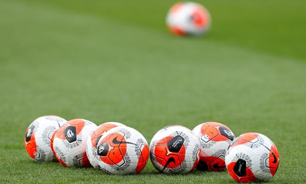 General view of match balls on the pitch before the match. Action Images via Reuters/Matthew Childs