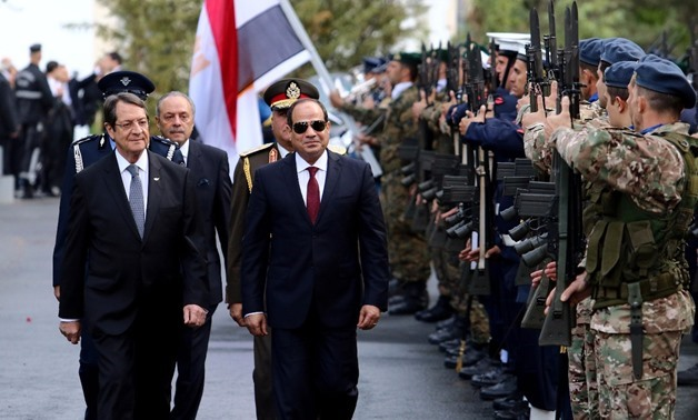Cypriot President Nicos Anastasiades (L) and President Abdel Fatah al-Sisi during the latter first official visit to Nicosia Nov. 20, 2017 - Reuters