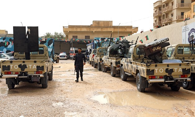 A member of pro-internationally recognised government forces checks the confiscated military vehicles from Libyan commander Khalifa Haftar's troops, in Zawiyah west of Tripoli, Libya April 5, 2019. REUTERS/Hani Amara
