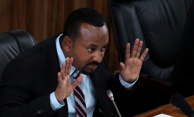 Ethiopia's Prime Minister Abiy Ahmed speaks during a session with the Members of the Parliament in Addis Ababa, Ethiopia, October 22, 2019. REUTERS/Tiksa Negeri
