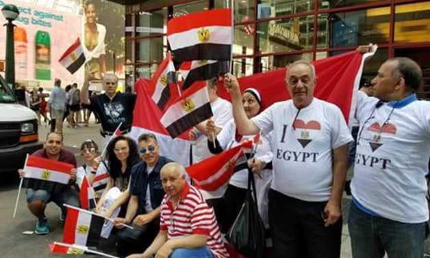 File- Members of the Egyptian community in the US celebrate the 5th anniversary of June 30 revolution- the photo was taken in 2018- Press photo