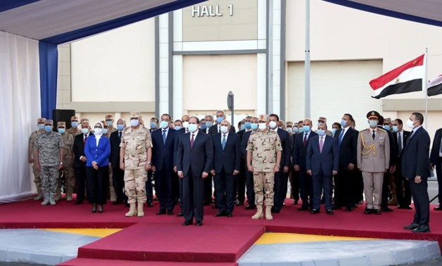 Egyptian President Abdel Fatah al Sisi visits a field quarantine hospital established by the armed forces - press photo