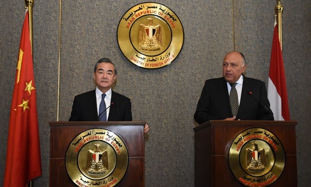 FILE - Egyptian Foreign Minister Sameh Shoukry holds a press conference with his Chinese counterpart, Wang Yi, in Cairo - Courtesy of the Egyptian Foreign Ministry