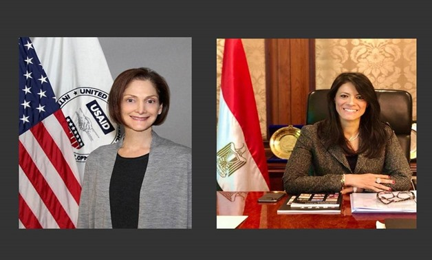 Minister of International Cooperation Rania Al-Mashat, and Director of the USAID Sherry Carlin - Press photo