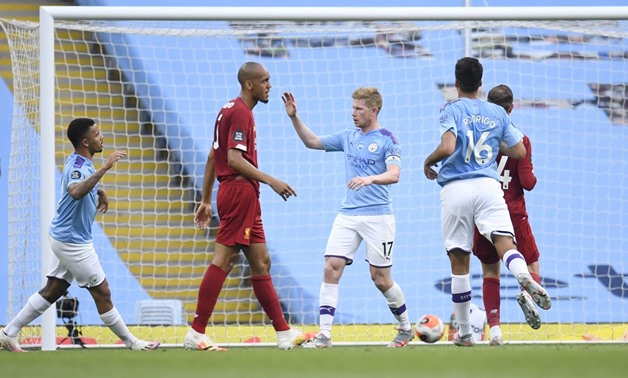 Soccer Football - Premier League - Manchester City v Liverpool - Etihad Stadium, Manchester, Britain - July 2, 2020 Manchester City's Kevin De Bruyne celebrates scoring their first goal, as play resumes behind closed doors following the outbreak of the co
