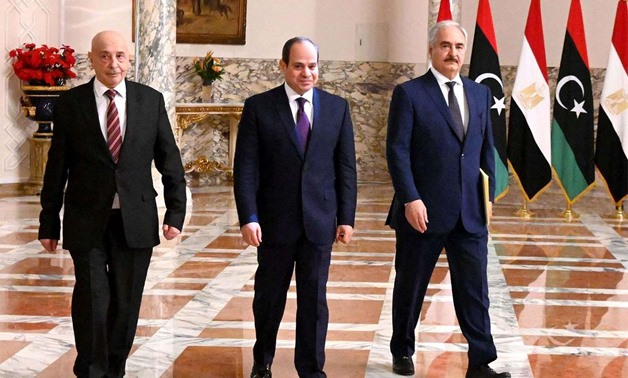 Sisi holds a tripartite meeting with the commander of the Libyan National Army (LNA) Khalifa Haftar and Speaker of Libyan Parliament Aguila Saleh – the Egyptian Presidency