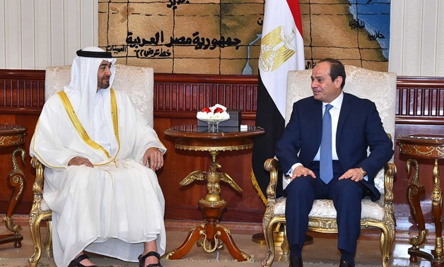 Egyptian President Abdel Fatah al-Sisi and Abu Dhabi Crown Prince Sheikh Mohammed bin Zayed al-Nahyan - Press Photo