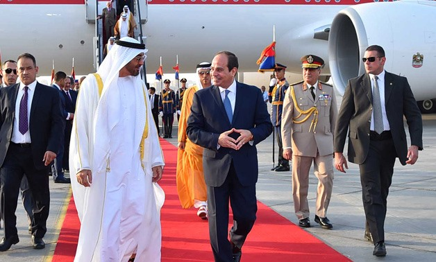 President Abdel Fatah al-Sisi and Mohammed bin Zayed Sultan Al-Nahyan, Crown Prince of Abu Dhabi - Press Photo