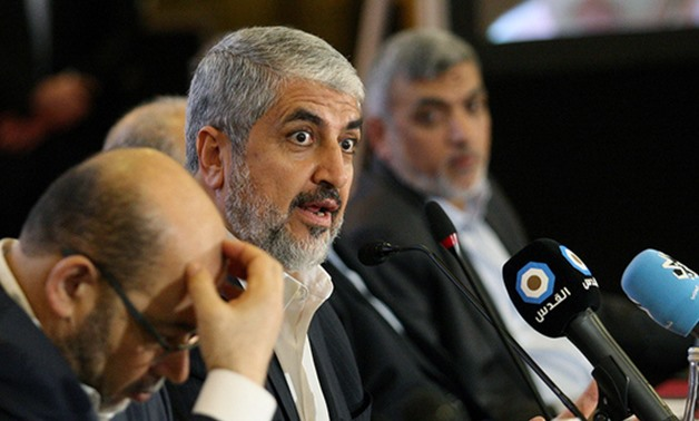 Hamas leader Khalid Meshaal gestures as he announces a new policy document in Doha, Qatar, May 1, 2017 – REUTERS/Naseem Zeitoon