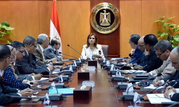 Minister of Investment Sahar Nasr with representatives from free zones- Press Photo