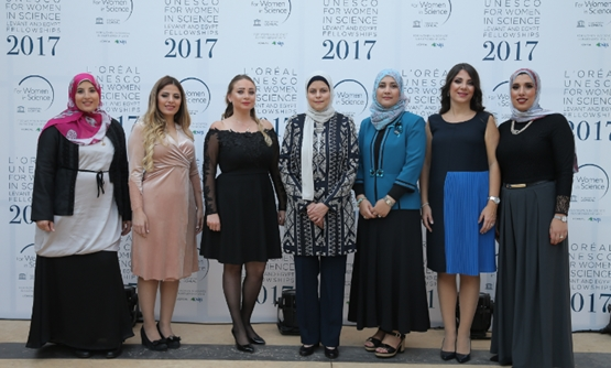 Menatallah el-Serafy (far right) and Basma Mostafa (far left) were recognized by L'Oreal-UNESCO for Women in Science regional program at the third annual award ceremony early last month - Courtesy of L'oreal Egypt