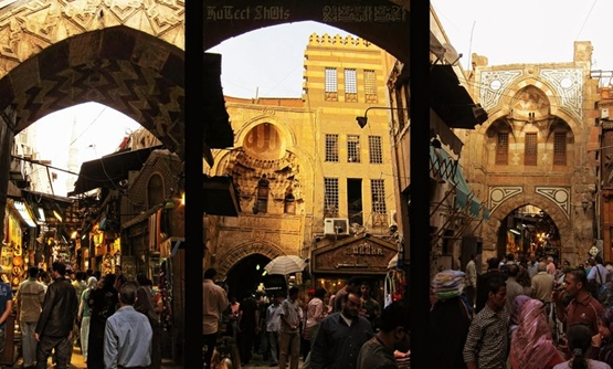 - Khan El-Khalili is a major souk in the Islamic district of Cairo. The bazaar district is one of Cairo's main attractions for tourists and Egyptians alike, April 9, 2010 – Wikimedia Commons/ Ahmed al-Badawy