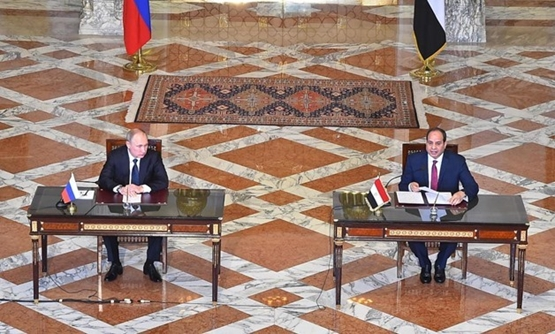 President Abdel fatah al-Sisi with his Russian counterpart  Vladimir Putin - Press photo