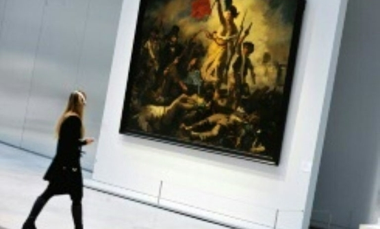 "Eugene Delacroix's famous painting, ""Liberty Leading the People"", was temporarily banned on Facebook becau"
