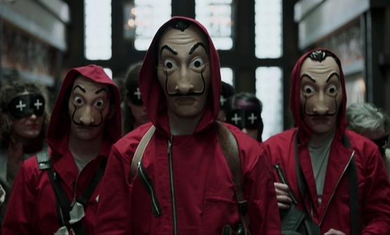 Screen cap from La Casa De Papel's trailer featuring the eight thieves -Youtube.