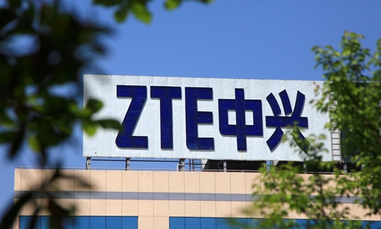 The logo of China's ZTE Corp is seen on a building in Nanjing, Jiangsu province, China April 19, 2018. Picture taken April 19, 2018. REUTERS /Stringer