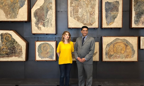 FILE - Ambassador of Egypt to Serbia, Amr al Jowaily, meets museum's director, Bojana Breskovic, during his inspection tour at the Serbian National Museum on June 13