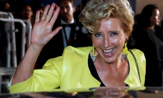 "FILE PHOTO: 70th Cannes Film Festival - Screening of the film ""The Meyerowitz Stories"" (New and Selected) in competition - Red Carpet Arrivals - Cannes, France. 21/05/2017. Cast member Emma Thompson poses. REUTERS/Eric Gaillard."
