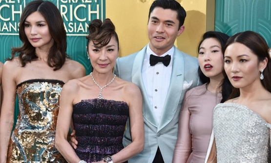 """Crazy Rich Asians"" stars Gemma Chan, Michelle Yeoh, Henry Golding, Awkwafina and Constance Wu, seen here attending the premiere at TCL Chinese Theatre IMAX on August 7, 2018 in Hollywood."