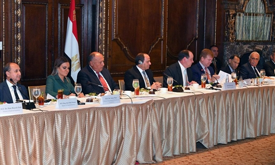 President Abdel Fatah al-Sisi during a working dinner banquet hosted by the American Chamber of Commerce and the Egyptian-American Business Council - Press Photo