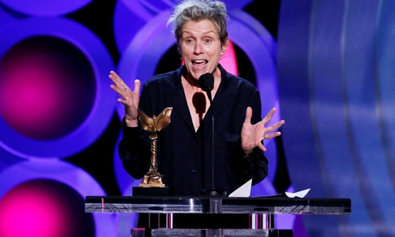 "FILE PHOTO: 2018 Film Independent Spirit Awards – Show – Santa Monica, California, U.S., 03/03/2018 – Frances McDormand accepts the Best Female Lead award for ""Three Billboards Outside Ebbing, Missouri"". REUTERS/Mario Anzuoni/File Photo"
