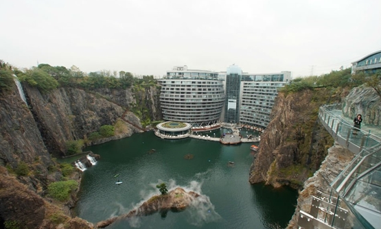 A general view of the Interconintal Shanghai Wonderland, a hotel built on the site of a former quarry, before its opening to the public, in Shanghai, China November 15, 2018 - Reuters