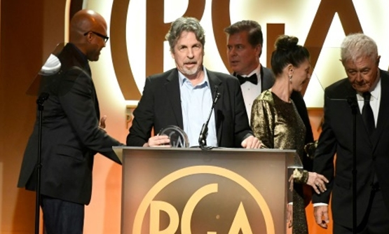 Producer Peter Farrelly (2nd from L) accepts The Darryl F. Zanuck Award for Outstanding Producer of Theatrical Motion Pictures for 'Green Book' at the Producers Guild Awards Producer Peter Farrelly (2nd from L) accepts The Darryl F. Zanuck Award for Outst