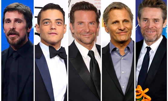 Best actor Oscar nominees for the 91st annual Academy Awards (L-R) Christian Bale, Rami Malek, Bradley Cooper, Viggo Mortensen and Willem Dafoe are seen in a combination of file photos. REUTERS/Staff/File Photos