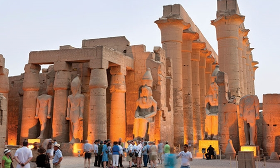 FILE: Tourists at the Columned Hall inside Luxor Temple