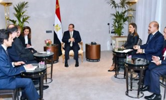 President Abdel Fatah al-Sisi in a meeting with Chairman of the Executive Board and CEO of ThyssenKrupp Services AG Guido Kerkhoff in Germany. February 17, 2019. Press Photo