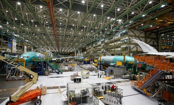 Several Boeing 777X aircraft are seen in various stages of production during a media tour of the Boeing 777X at the Boeing production facility in Everett, Washington, U.S., February 27, 2019. REUTERS/Lindsey Wasson