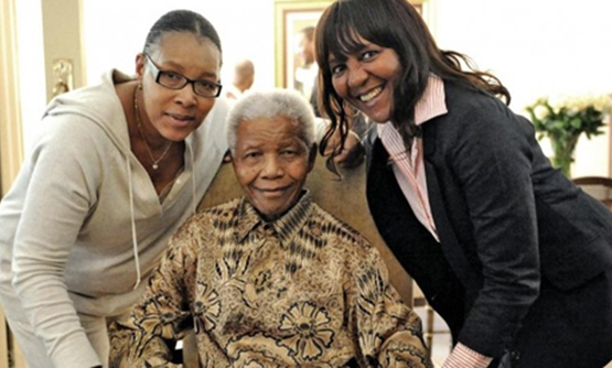 Nelson Mandela with his first-family daughter, Princess Zenani Mandela-Dlamini, and second-family granddaughter Ndileka Mandela (Photo: Reuters)