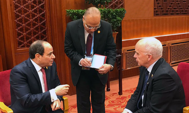 Sisi speaks with President of the Swiss Confederation Ueli Maurer in Beijing- press photo