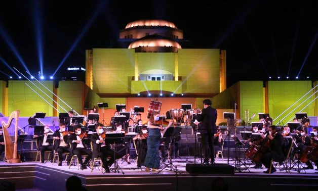 Cairo Symphony Orchestra plays with face masks at Cairo Opera House's Fountain Theater