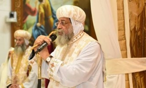 Pope Tawadros II gives a sermon at  the Orthodox Coptic church, Melbourne