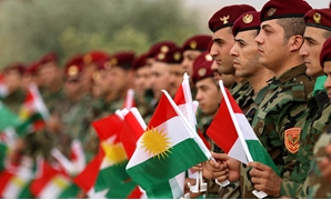 Kurdish Peshmerga show support for independence ahead of referendum. AFP/Safin Hamed